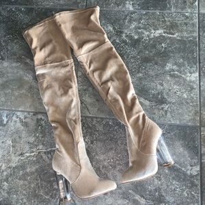 Cream Velvet Over the Knee Boots Clear Heel Sz 5.5